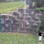 Retaining Wall Power Washing Before