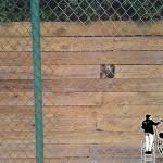 Power washing a retaining wall