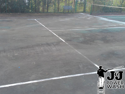 How to Power Wash a Tennis Court - Before